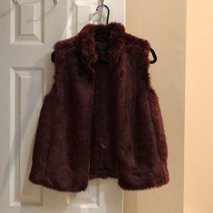 Jcrew Burgundy Faux Fur Vest